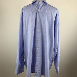 David Donahue plaid button down dress shirt